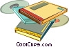 Vector Clip Art image  of a Books and cds