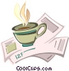 Vector Clip Art image  of a cup of coffee sitting on some