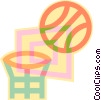 Basketball, basketball net Vector Clipart illustration