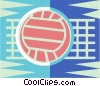 Volleyball net and ball Vector Clipart illustration