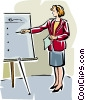 Vector Clip Art graphic  of a businesswoman making a