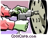 Vector Clipart image  of a Person changing a tire