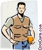 Vector Clipart graphic  of a blue collar working man
