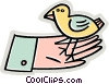 bird sitting in the palm of a hand Vector Clipart graphic