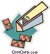 Vector Clip Art image  of a Box of dominoes