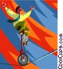 man riding a unicycle on a high wire Vector Clipart image