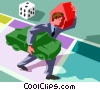 playing the game of life carrying a load Vector Clip Art picture