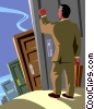 businessman knocking on doors Vector Clipart graphic