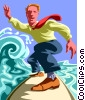 Vector Clip Art graphic  of a Businessman surfing