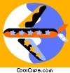 Vector Clip Art graphic  of a Commercial Jets