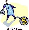trapped by the almighty dollar Vector Clip Art picture