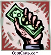 hand holding dollar bills Vector Clip Art image