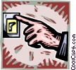 hand turning off a light switch Vector Clipart graphic