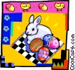 Vector Clipart graphic  of a Easter bunny with Easter eggs