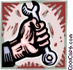 Vector Clip Art picture  of a hand holding a wrench