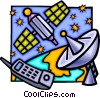 Vector Clipart picture  of a Satellite dish with cell phone