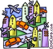 Vector Clip Art picture  of a rush hour in the city