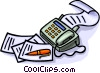 Vector Clipart illustration  of a fax machine with pen and paper