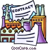 Vector Clipart image  of a broken contract