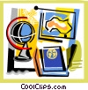 Vector Clip Art image  of a Books and Projects