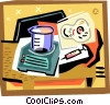 Vector Clipart image  of a beaker with scale and medical