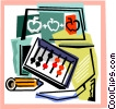 Vector Clip Art graphic  of an abacus and school supplies