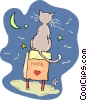 Vector Clipart illustration  of a Cat sitting on mailbox
