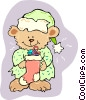 Vector Clip Art picture  of a teddy bear with Christmas