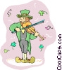 Vector Clipart picture  of a leprechaun playing the fiddle