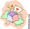 Vector Clip Art picture  of a Box of flowers