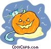 Cat with jack o lantern Vector Clip Art picture