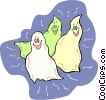 Vector Clipart image  of a Three ghosts