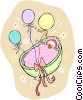Vector Clipart image  of a baby in a bassinet