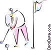 Golfer on putting green Vector Clipart graphic