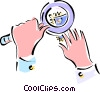 Vector Clipart illustration  of a hands with magnifying glass