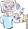 Researcher with microscope Vector Clip Art picture