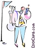 Vector Clipart illustration  of a Golfer talking on cellphone