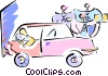 Vector Clip Art graphic  of an Auto industry testing cars