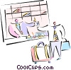 Vector Clipart graphic  of a Man checking into hotel