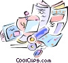 Vector Clip Art image  of a person working in a newspaper