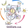 Vector Clip Art image  of a working cycle