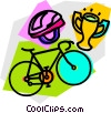 Vector Clip Art picture  of a Bicycle trophy and helmet