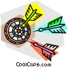 Darts and dartboard Vector Clip Art graphic