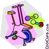 Vector Clip Art image  of a Stationary bike and weights
