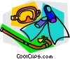 Mask snorkel and fins Vector Clip Art graphic