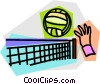 Vector Clip Art picture  of a Hand hitting volleyball over