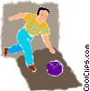 Vector Clipart picture  of a Man with a bowling ball