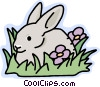 Rabbit in the grass Vector Clip Art image