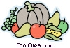 Pumpkin with fruits and vegetables Vector Clipart picture