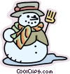 Snowman with broom Vector Clipart graphic